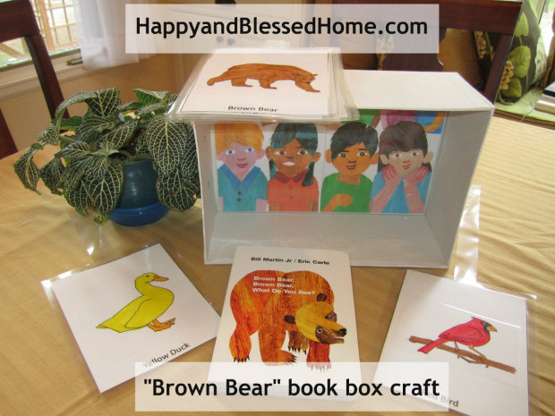 "children-books-""Brown Bear"" FREE printables and shoebox craft from http://HappyandBlessedHome.com"