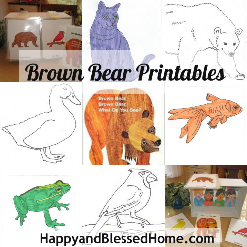 "Children's Book ""Brown Bear"" FREE printables and shoebox craft from http://HappyandBlessedHome.com"