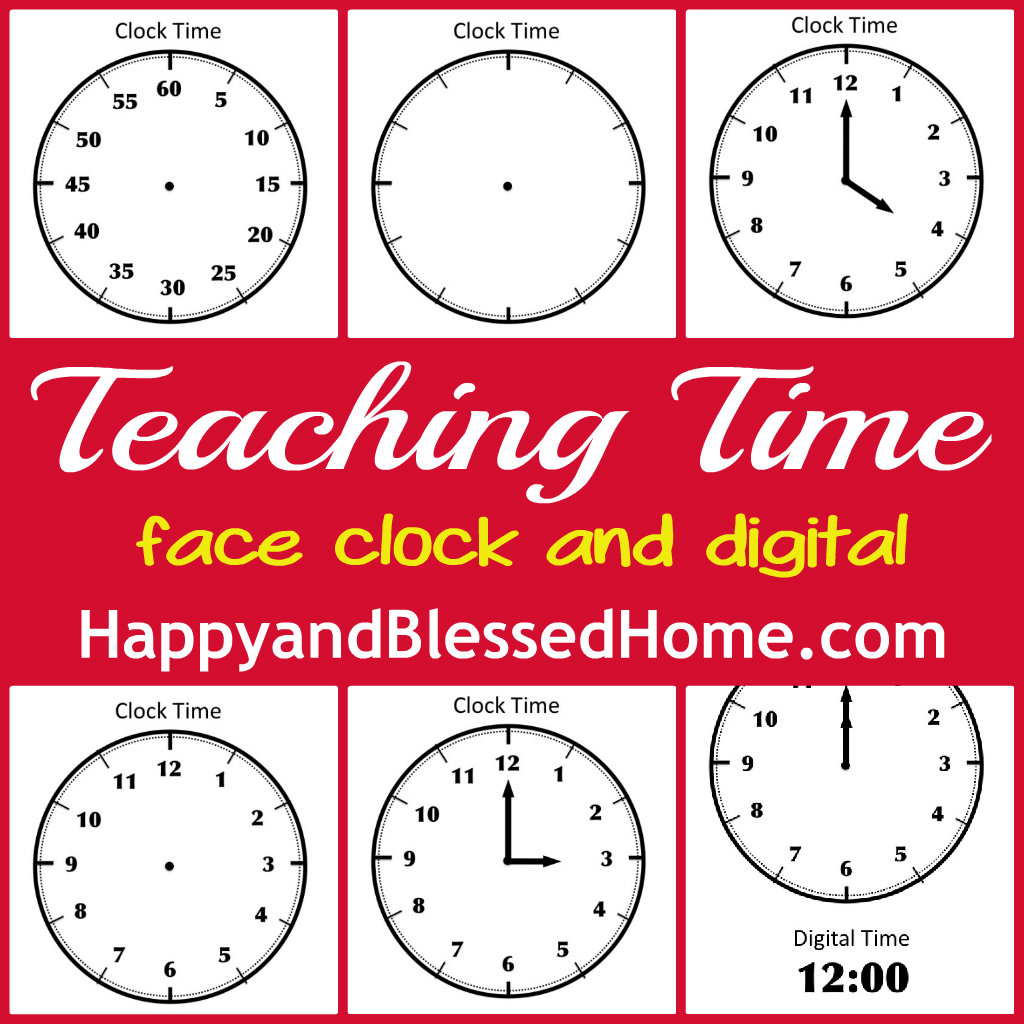 free printable face clock to teach time - Free Printable Preschool Activities