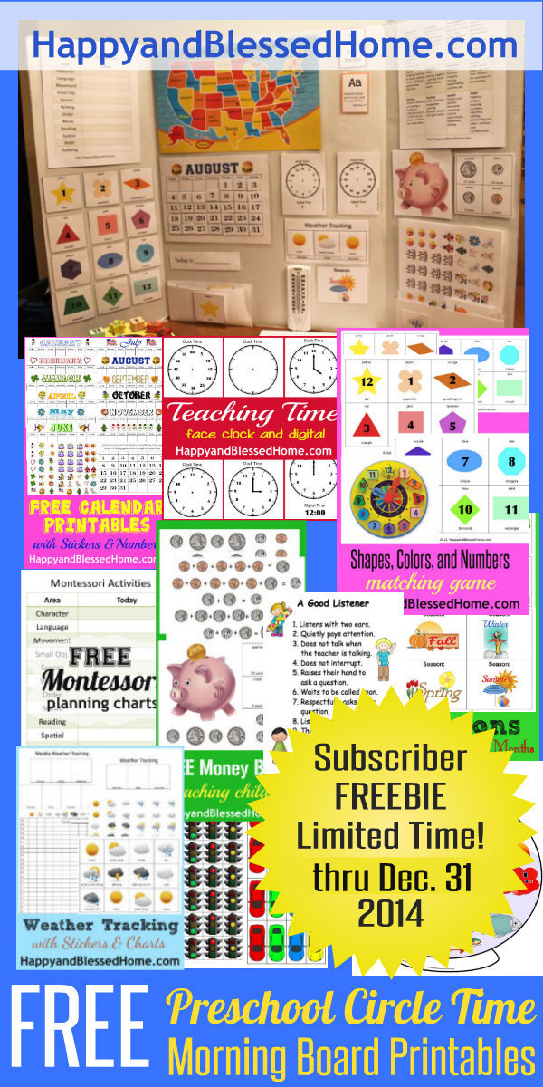 Free Preschool Circle Time Morning Board Printables Free