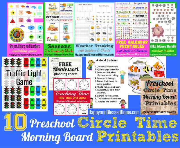 10 Preschool Circle Time Morning Board Printables HappyandBlessedHome.com