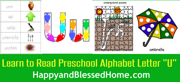 Learn to Read Preschool Alphabet Letter U 2 HappyandBlessedHome.com