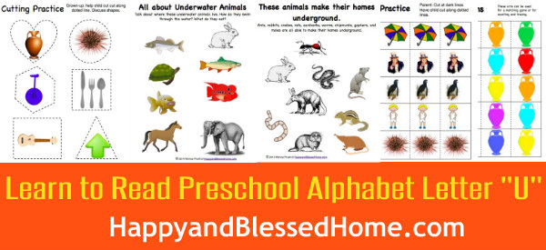 Learn to Read Preschool Alphabet Letter U 3 HappyandBlessedHome.com