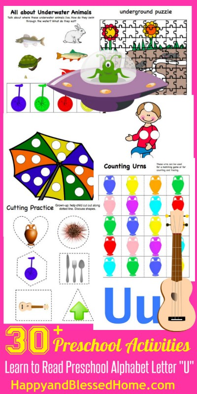 learn to read preschool letter u - happy and blessed home